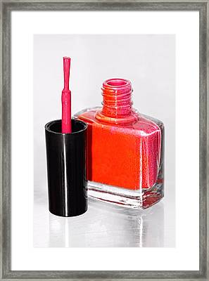 Pretty In Pink Finger Nail Polish Framed Print by Tracie Kaska
