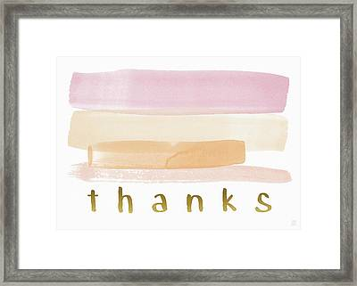 Pretty In Pink Watercolor Stripe Thank You- Art By Linda Woods Framed Print by Linda Woods