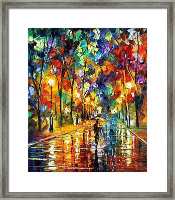 Pretty Night - Palette Knife Oil Painting On Canvas By Leonid Afremov Framed Print by Leonid Afremov