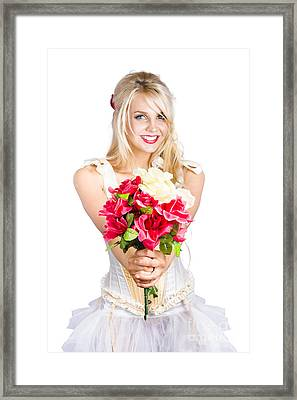 Pretty Woman With Flower Bouquet Framed Print by Jorgo Photography - Wall Art Gallery