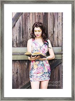 Pretty Young Woman Reading Book Framed Print by Jorgo Photography - Wall Art Gallery