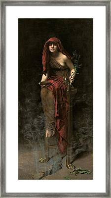 Priestess Of Delphi Framed Print by John Collier