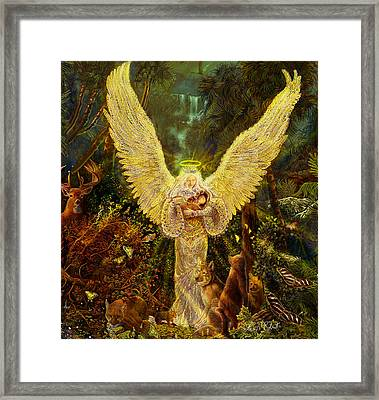 Priestess Of The Woods-angel Tarot Card Framed Print by Steve Roberts