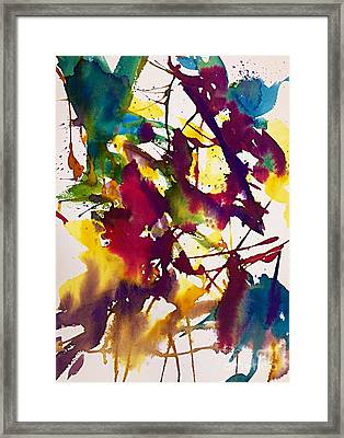 Primary Splatters Abstract  Framed Print by Ellen Levinson