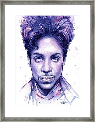 Prince Purple Watercolor Framed Print by Olga Shvartsur