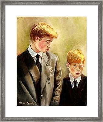 Prince William And Prince Harry Framed Print by Carole Spandau