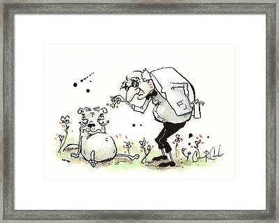 Princess The Alpha Male In Who's Training Who? Framed Print by Connor Reed Crank