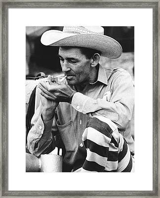 Prisoner Is Rodeo Participant Framed Print by Underwood Archives