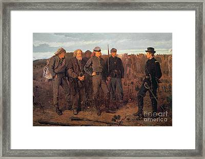 Prisoners From The Front Framed Print by Winslow Homer