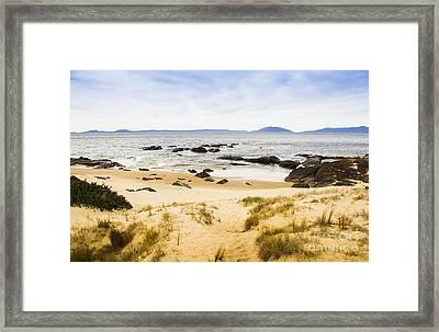 Pristine Beach Background Framed Print by Jorgo Photography - Wall Art Gallery