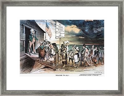 Pro-immigration Cartoon Framed Print by Granger