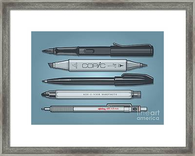 Pro Pens Framed Print by Monkey Crisis On Mars