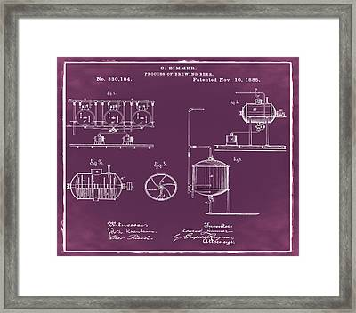 Process Of Brewing Patent 1885 In Red Framed Print by Bill Cannon