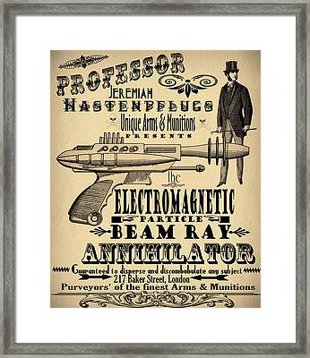 Professor H And His Ray Gun Framed Print by Cinema Photography