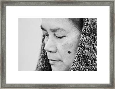 Profile Portrait Of A Filipina With A Mole On Her Cheek And Wearing A Scarf  Framed Print by Jim Fitzpatrick