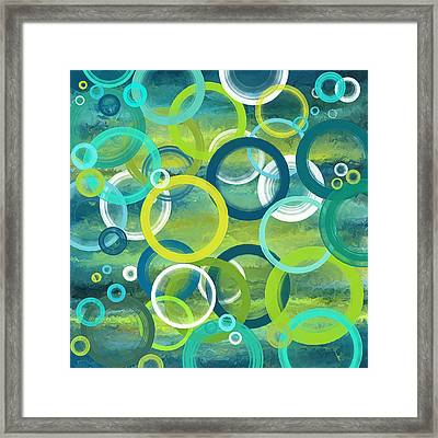 Profound Cycles- Turquoise Art Framed Print by Lourry Legarde