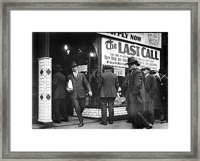 Prohibition Last Call - Detroit - 1919 Framed Print by Daniel Hagerman
