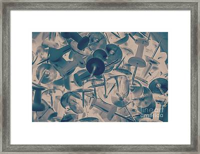 Projected Abstract Blue Thumbtacks Background Framed Print by Jorgo Photography - Wall Art Gallery