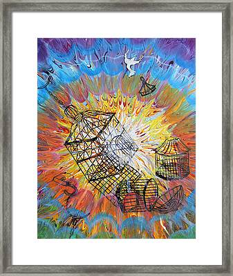 Prophetic Message Sketch 30 Set Free Framed Print by Anne Cameron Cutri