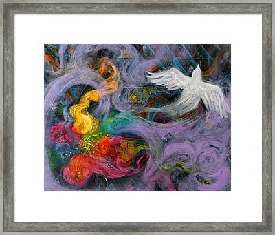 Prophetic Message Sketch Painting 10 Divine Pattern Dove Framed Print by Anne Cameron Cutri