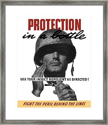 Protection In A Bottle Fight The Peril Behind The Lines Framed Print by War Is Hell Store