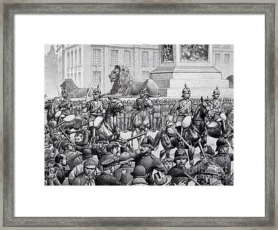 Protests In Trafalgar Square By The London Poor Framed Print by Pat Nicolle