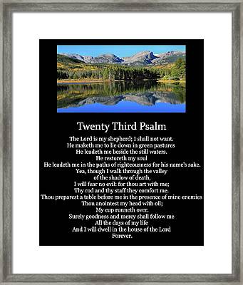 Psalm 23 Mountain Reflection Framed Print by Dan Sproul