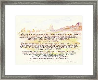 Psalm 23 Navajo Version  Framed Print by Judy Dodds