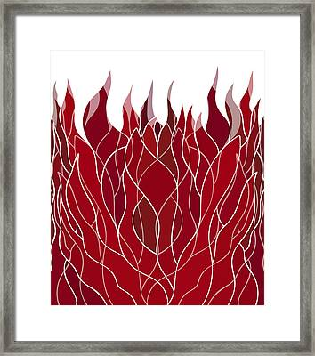 Psychedelic Flames Framed Print by Frank Tschakert