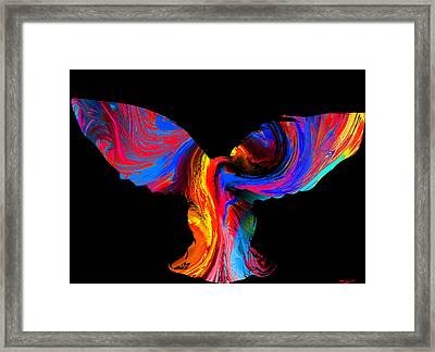 Psychedelic Owl Silhouette Framed Print by Abstract Angel Artist Stephen K