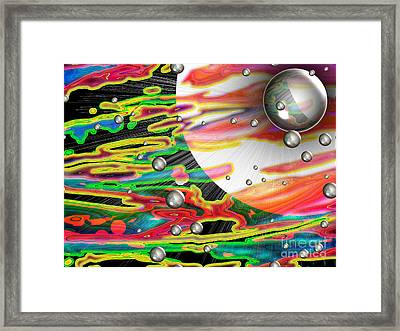 Psychedelic Planetary Journey Framed Print by Roxy Riou