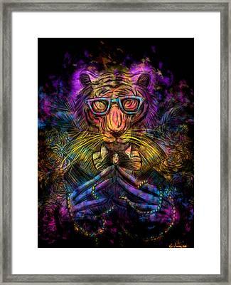 Psychedelic Tiger Framed Print by Kita Liosatos