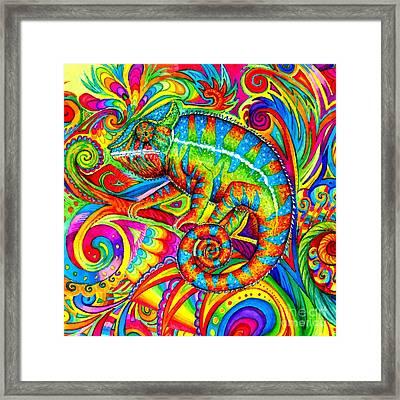 Psychedelizard Framed Print by Rebecca Wang