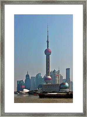 Pudong Shanghai Oriental Perl Tower Framed Print by Christine Till