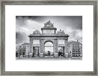 Puerta De Toledo Madrid Bw Framed Print by Joan Carroll