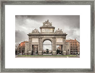 Puerta De Toledo Madrid Framed Print by Joan Carroll