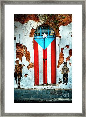 Puerto Rican Flag Door Framed Print by George Oze