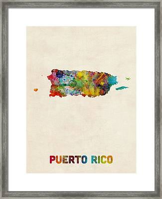 Puerto Rico Watercolor Map Framed Print by Michael Tompsett