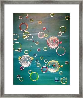 Puffer Fish Bubbles Framed Print by Karen Jane Jones