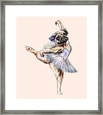 Pug Ballerina Dog Framed Print by Notsniw Art