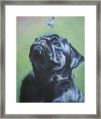 Pug Black  Framed Print by Lee Ann Shepard