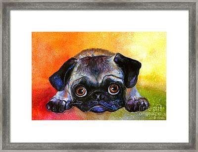 Pug Dog Portrait Painting Framed Print by Svetlana Novikova