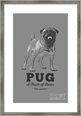 Pug Dog Touch Of Clown T-shirt Framed Print by Edward Fielding