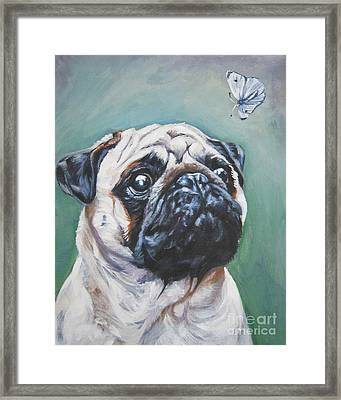 Pug With Butterfly Framed Print by Lee Ann Shepard