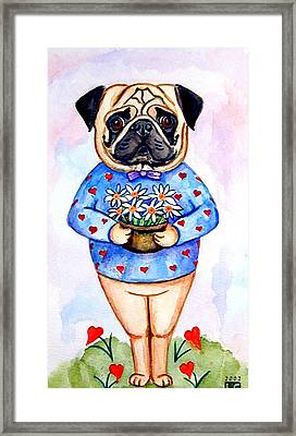 Pugfully Yours - Pug Framed Print by Lyn Cook