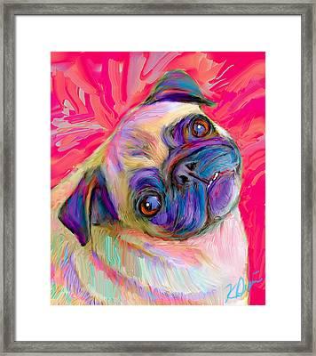 Pugsly Framed Print by Karen Derrico