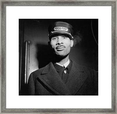 Pullman Porter At The Union Station Framed Print by Everett