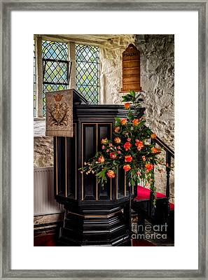 Pulpit And Flowers Framed Print by Adrian Evans