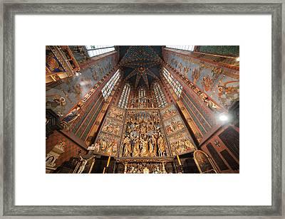 Pulpit In St. Mary's Basilica Interior In Krakow Framed Print by Artur Bogacki