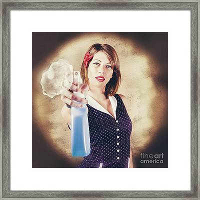Pump Action Pin Up Woman Killing Glass Grime Framed Print by Jorgo Photography - Wall Art Gallery